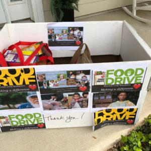Dee's makeshift donation box with items from her pantry